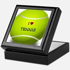 I Love Tennis on a Yellow Tennis Ball Keepsake Box