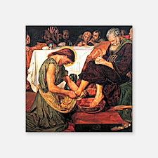 "Jesus Washing Peter's Feet, Square Sticker 3"" x 3"""