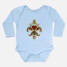 Monogram D Fleur de lis 2 Long Sleeve Infant Bodys