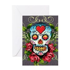 Hearts and Bone Sugar Skull Greeting Card