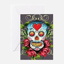 Hearts and Bone Sugar Skull Greeting Card