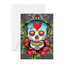 Hearts and Bone Sugar Sk Greeting Cards (Pk of 10)