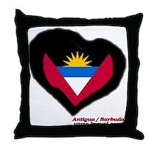 Antigua and Barbuda Heart Throw Pillow