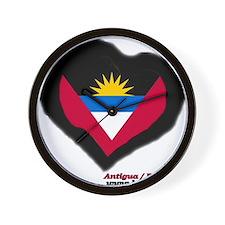 Antigua and Barbuda Heart Wall Clock