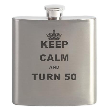 KEEP CALM AND TURN 50 Flask
