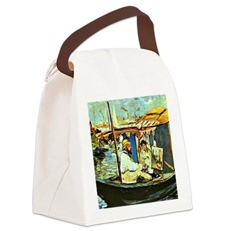 Monet in his Floating Studio Canvas Lunch Bag