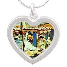 Monet in his Floating Studio Silver Heart Necklace