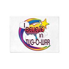 I Believe In Tug Of War Cute Believer Design 5'x7'