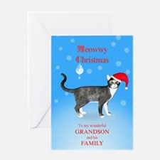 For grandson and family, Meowwy Christmas cat Gree