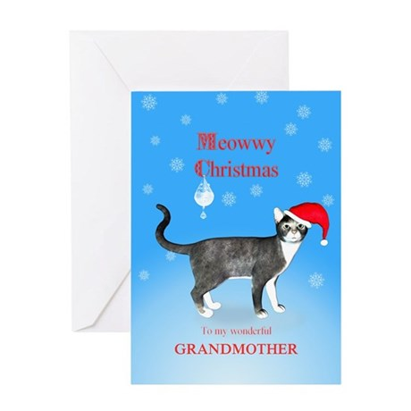 For grandmother, Meowwy Christmas cat Greeting Car
