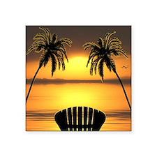 "Beach Sunset Square Sticker 3"" x 3"""