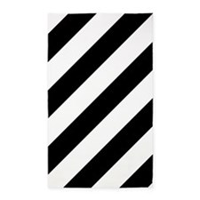Black and White Diagonal Striped 3'x5' Area Rug