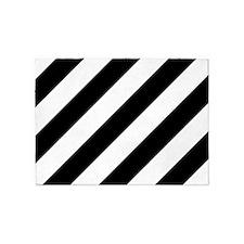 Black and White Diagonal Striped 5'x7'Area Rug