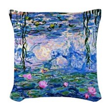 Monet - Water Lilies, 1919 Woven Throw Pillow