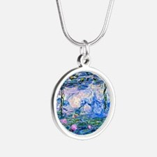 Monet - Water Lilies, 1919 Silver Round Necklace