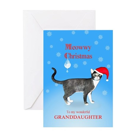 For granddaughter, Meowwy Christmas cat Greeting C