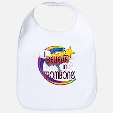 I Believe In Trombones Cute Believer Design Bib