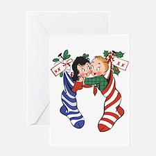 Vintage Christmas Stockings Greeting Cards