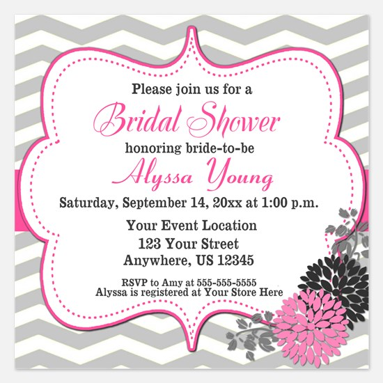 Pink Chevron Shower Invite Invitations