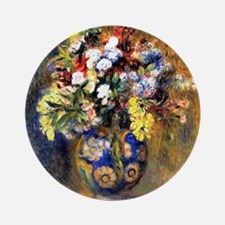 Renoir: Flowers in a Vase Round Ornament