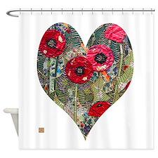 Poppy Heart Shower Curtain