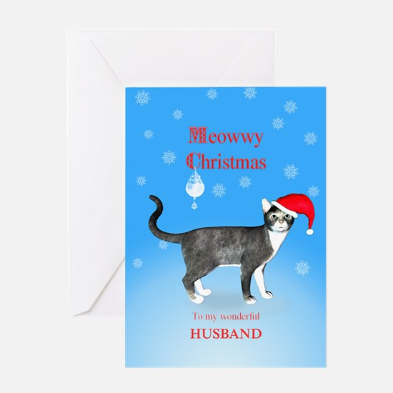 For husband, Meowwy Christmas cat Greeting Cards