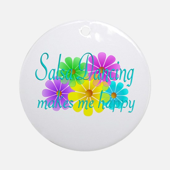 Salsa Dancing Happiness Ornament (Round)
