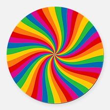 Rainbow Twist Stripes Round Car Magnet