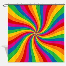 Rainbow Twist Stripes Shower Curtain