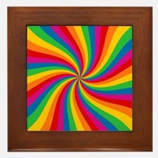 Rainbow Twist Stripes Framed Tile