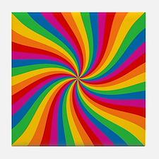 Rainbow Twist Stripes Tile Coaster