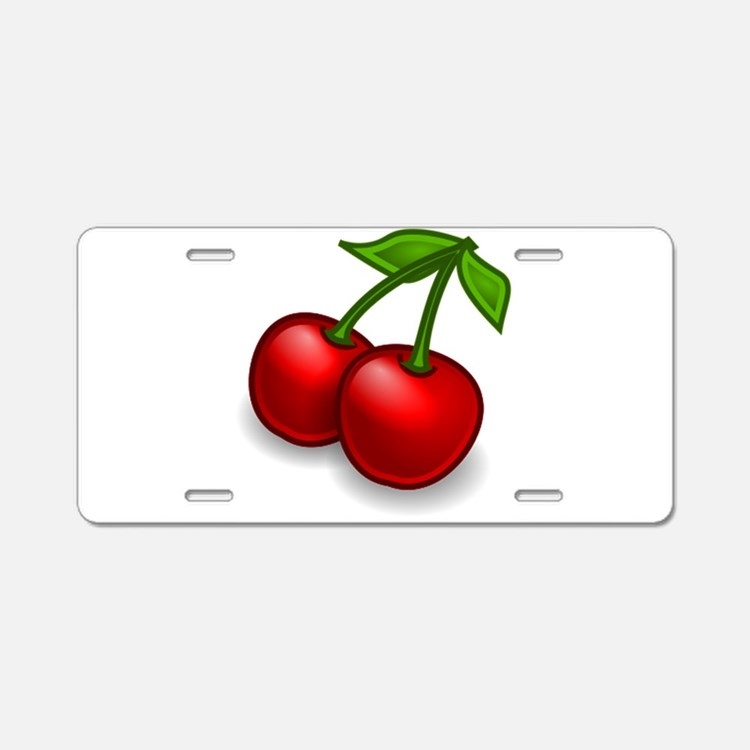 Two Cherries Aluminum License Plate