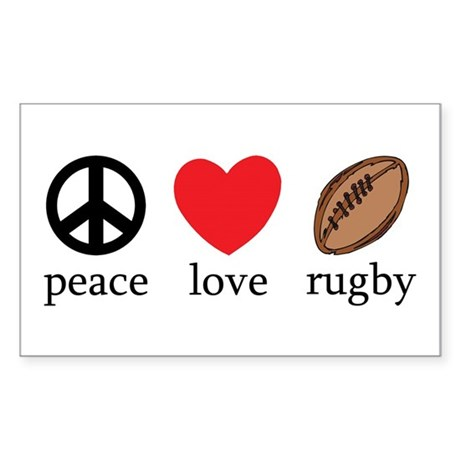 Peace Love Rugby Rectangle Sticker