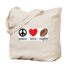Peace Love Rugby Tote Bag