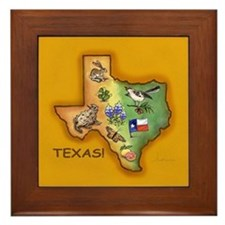 Texas Symbols Framed Tile