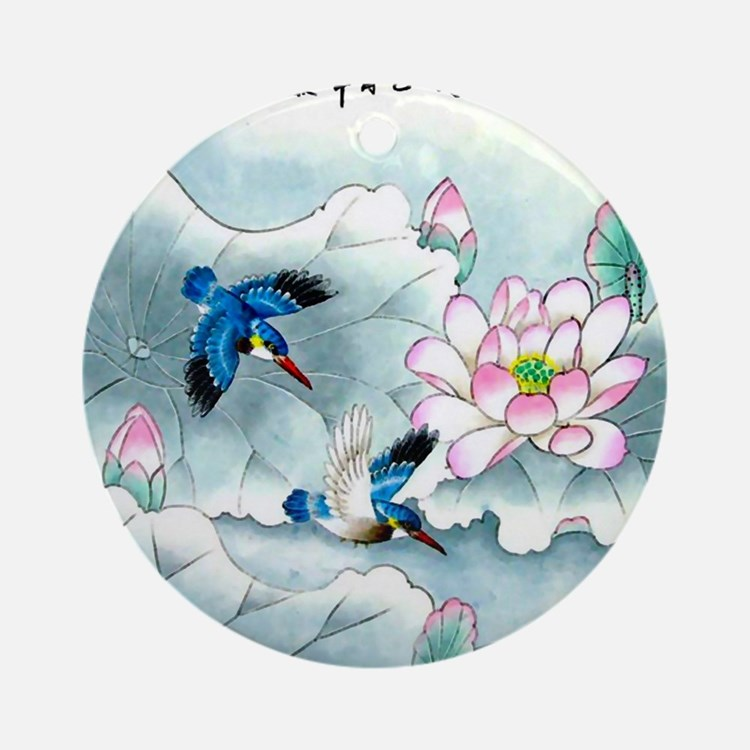 Birds and Floral Round Ornament