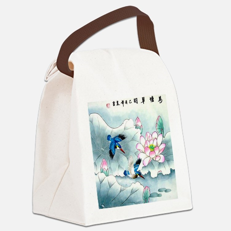 Birds and Floral Canvas Lunch Bag