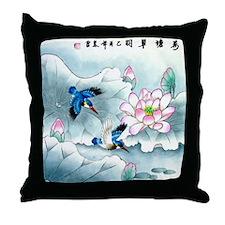 Birds and Floral Throw Pillow