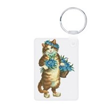 Cat with Basket of Blue Fl Keychains