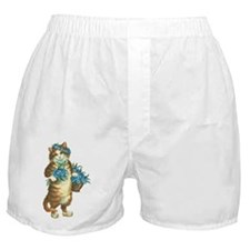 Cat with Basket of Blue Flowers Boxer Shorts