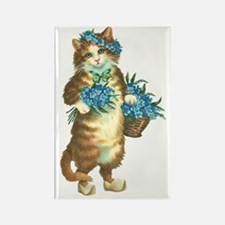 Cat with Basket of Blue Flowers Rectangle Magnet
