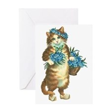Cat with Basket of Blue Flowers Greeting Card