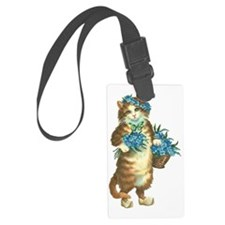 Cat with Basket of Blue Flowers Luggage Tag