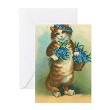 Victorian Kitty with Blue Flowers Greeting Card