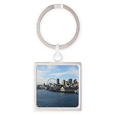 Seattle Coastline Square Keychain
