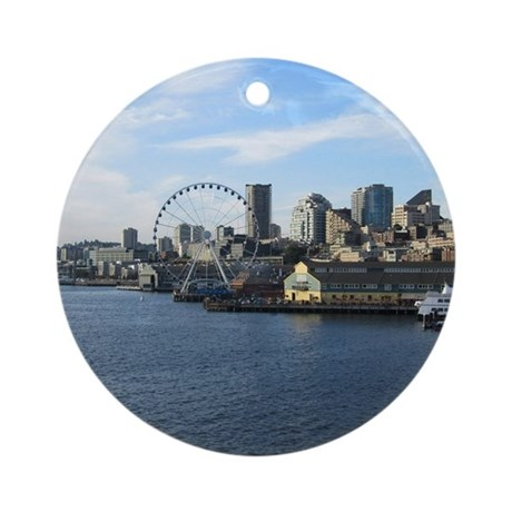 Seattle Coastline Round Ornament