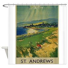 St. Andrews,Scotland, Golf, Vintage Poster Shower
