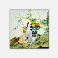 "Nature & Rooster Motif Square Sticker 3"" x 3"""