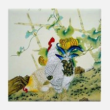 Nature & Rooster Motif Tile Coaster