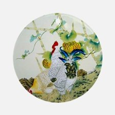 Nature & Rooster Motif Round Ornament